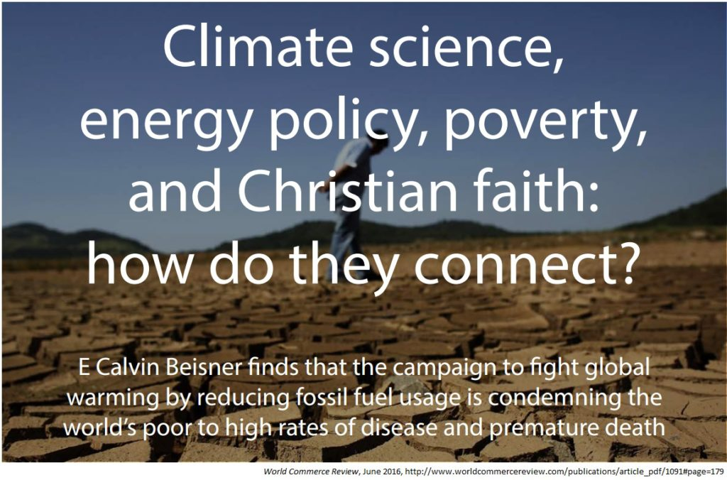Climate science energy policy poverty and Christian faith World Commerce Review